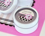 Personalized Round Candle Tins - Pink Baby cheap favors