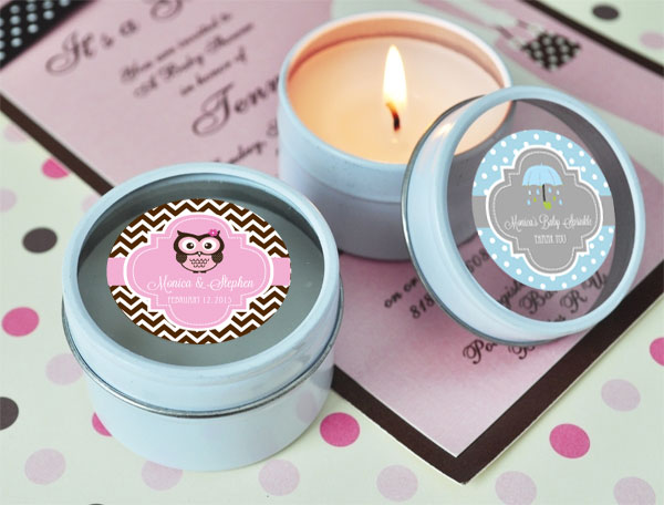 Personalized Baby Shower Round Travel Candle Tins cheap favors