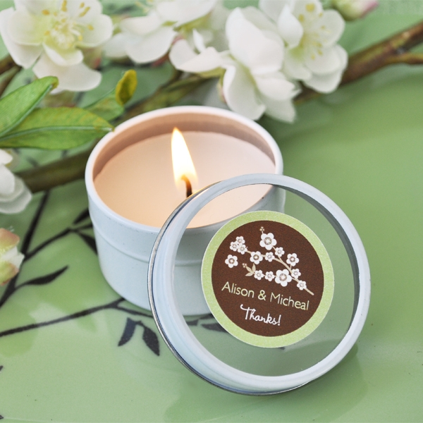 Cherry Blossom Personalized Round Travel Candle Tins wedding favors