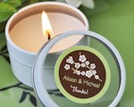 Cherry Blossom Personalized Round Travel Candle Tins cheap favors