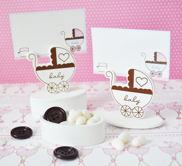 Baby Carriage Place Card Favor Boxes with Designer Place Cards wedding favors
