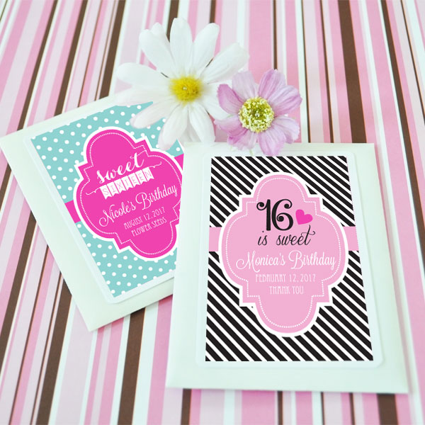 Personalized Sweet 16 or 15 Seed Packets wedding favors