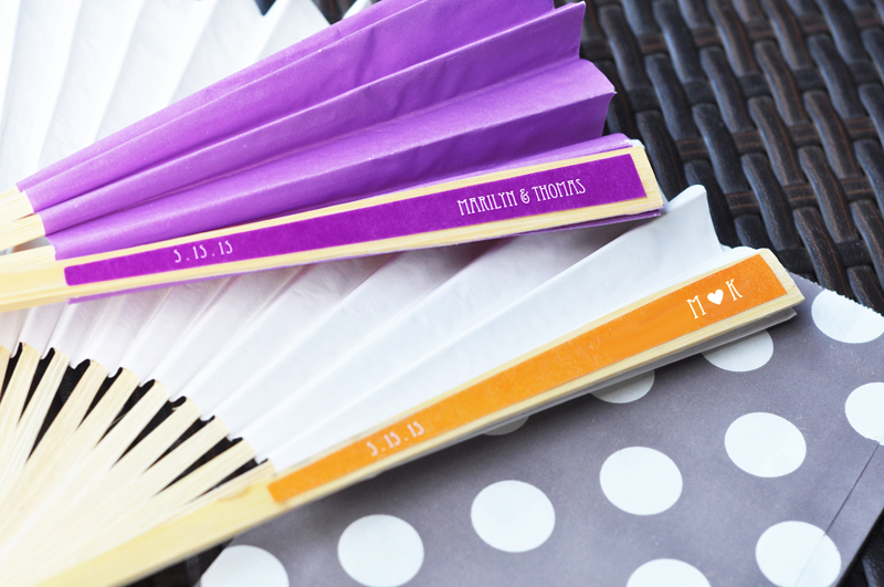 Personalized Colored Paper Fans cheap favors
