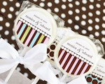 """Something Sweet"" Dots and Stripes Personalized Lollipop Favors cheap favors"