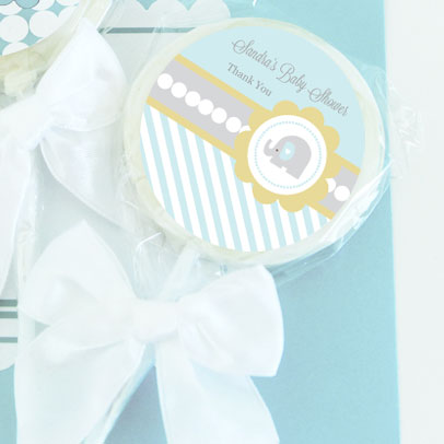 Blue Elephant Personalized Lollipop Favors wedding favors