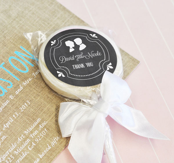 Chalkboard Wedding Personalized Lollipop Favors wedding favors