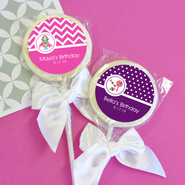 Personalized MOD Kid's Birthday Lollipop Favors wedding favors
