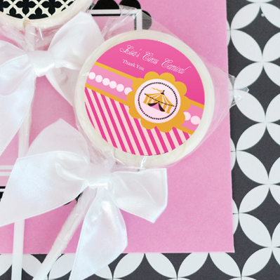 Pink Circus Party Personalized Lollipop Favors  wedding favors