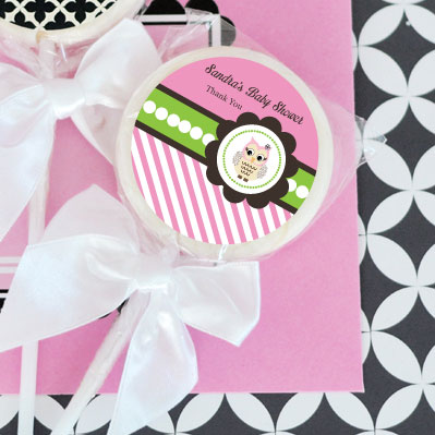 Pink Owl Personalized Lollipop Favors
