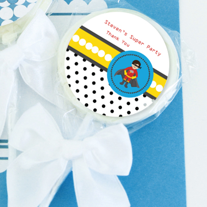 Super Hero Boy Birthday Personalized Lollipop Favors  wedding favors