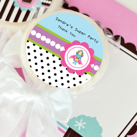 Super Hero Girl Birthday Personalized Lollipop Favors  wedding favors
