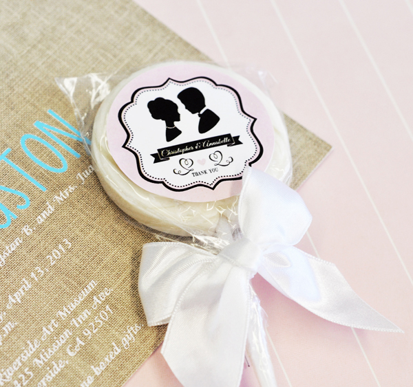 Vintage Wedding Personalized Lollipop Favors  cheap favors