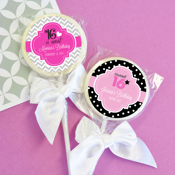 Personalized Sweet 16 or 15 Lollipop Favors cheap favors