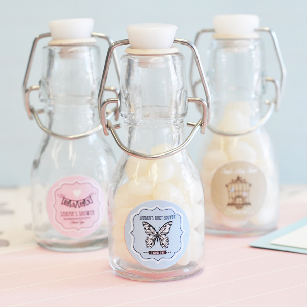 Vintage Baby Personalized Mini Glass Bottles  wedding favors
