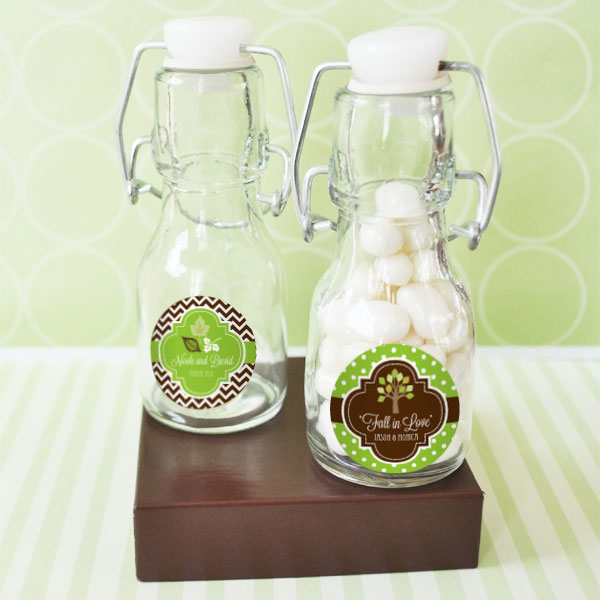 Personalized Fall Mini Glass Bottles wedding favors