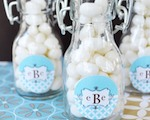 Mod Monogram Personalized Mini Glass Bottles  cheap favors