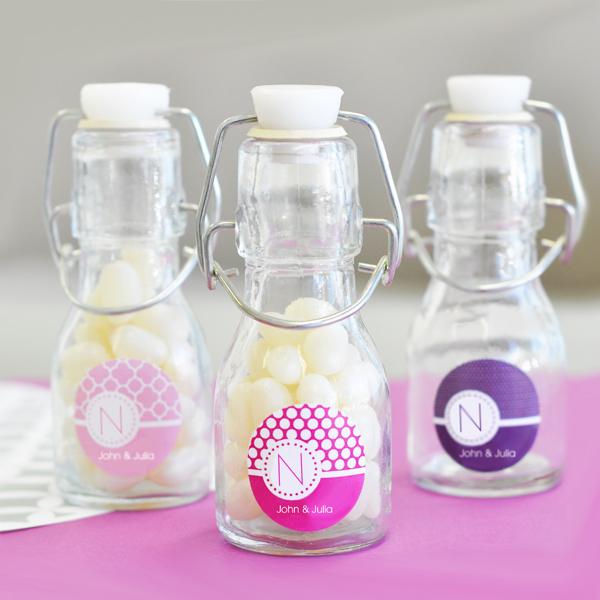 MOD Pattern Monogram Mini Glass Bottles wedding favors