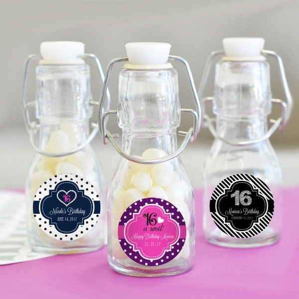 Personalized Sweet 16 or 15 Mini Glass Bottles wedding favors
