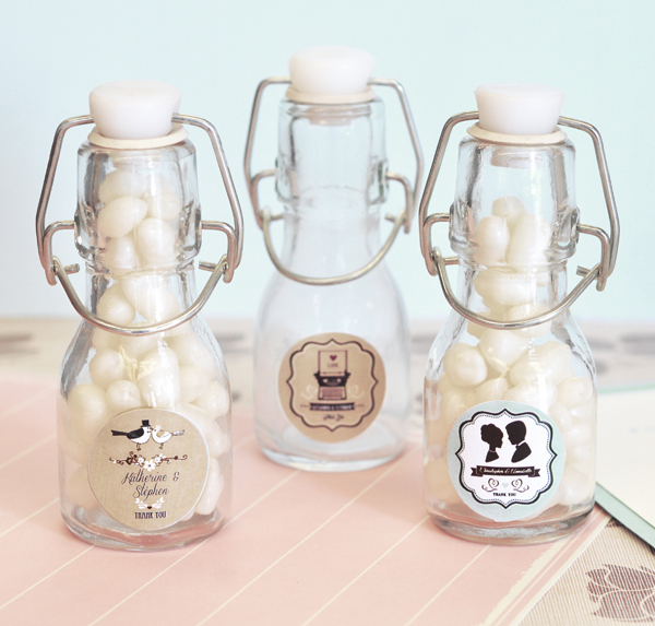 Vintage Wedding Personalized Mini Glass Bottles  cheap favors