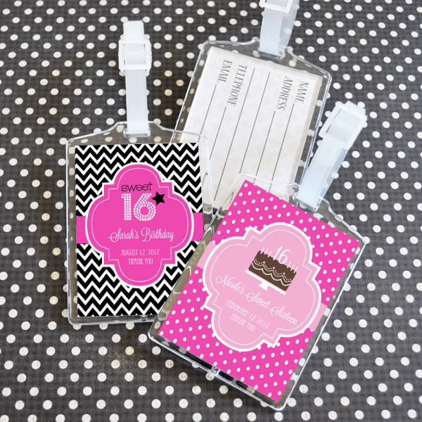 Personalized Sweet 16 or 15 Acrylic Luggage Tags cheap favors