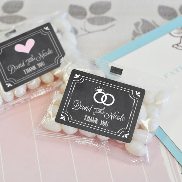 Chalkboard Wedding Personalized Jelly Bean Packs cheap favors