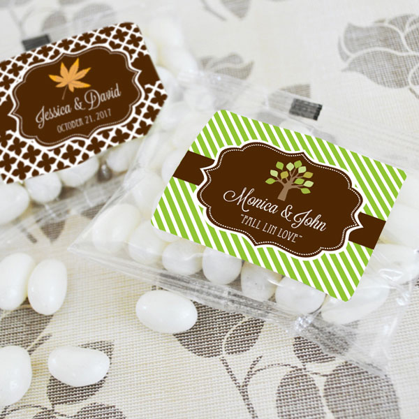 Personalized Fall Jelly Bean Packs wedding favors