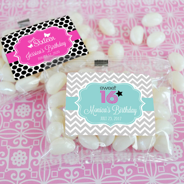 Personalized Sweet 16 or 15 Jelly Bean Packs wedding favors