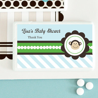 Blue Monkey Party Personalized Mini Mint Favors  wedding favors