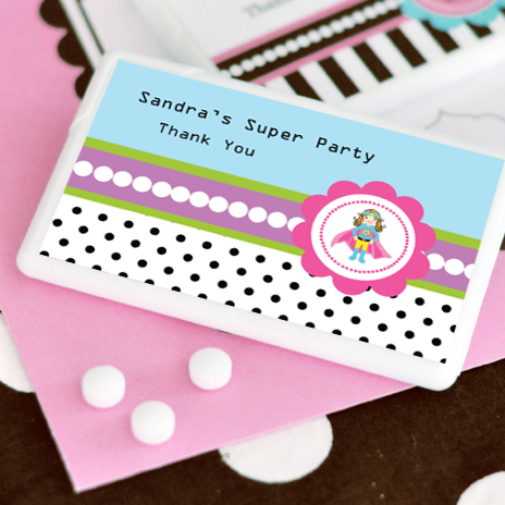 Super Hero Girl Birthday Personalized Mini Mint Favors  wedding favors