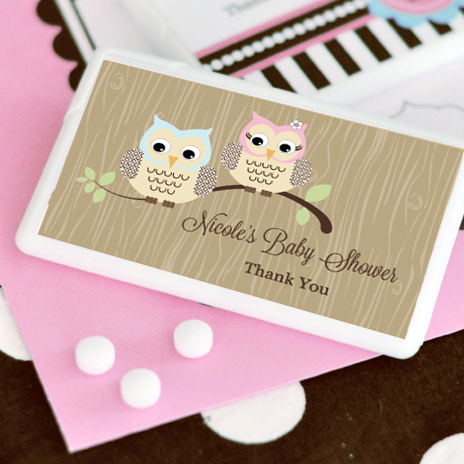 Woodland Owl Personalized Mini Mint Favors wedding favors