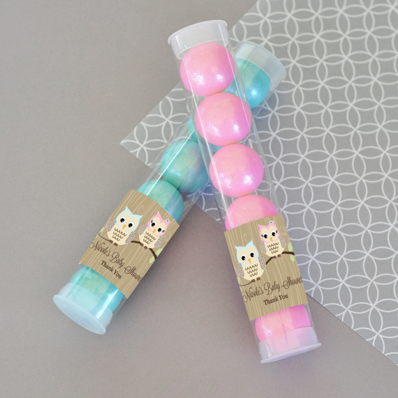 Woodland Owl Personalized Candy Tubes  wedding favors