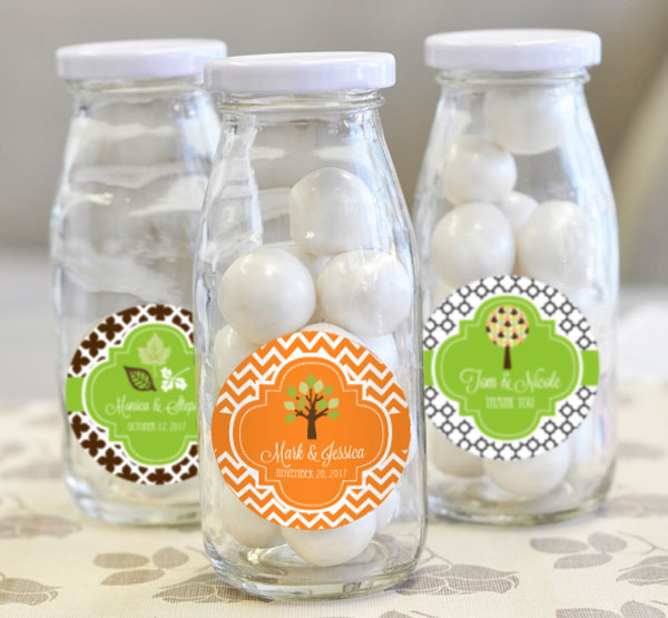 Personalized Fall Milk Bottles wedding favors