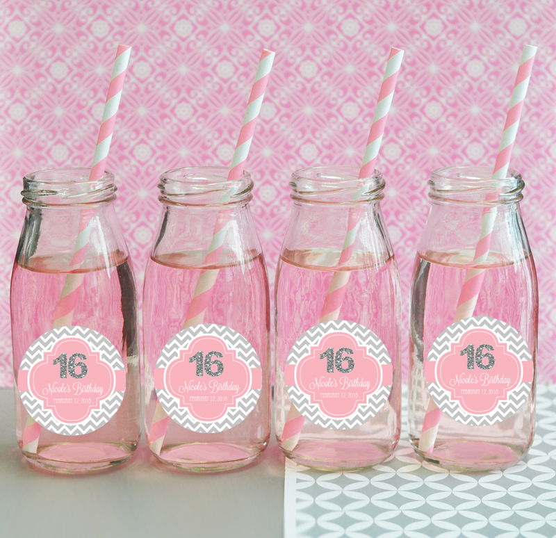 Personalized Sweet 16 Or 15 Milk Bottles