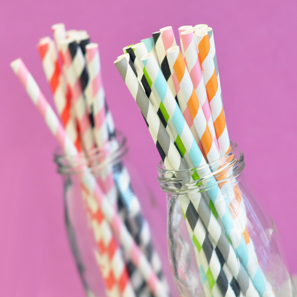 Striped Paper Straws (set of 25)  wedding favors