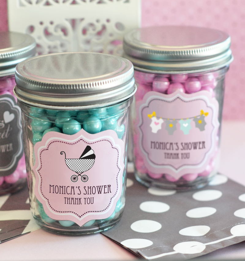 Personalized Baby Shower Mini Mason Jars  cheap favors