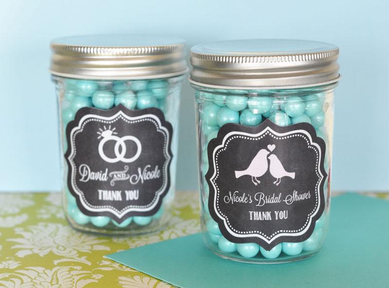 Chalkboard Wedding Personalized Mini Mason Jars