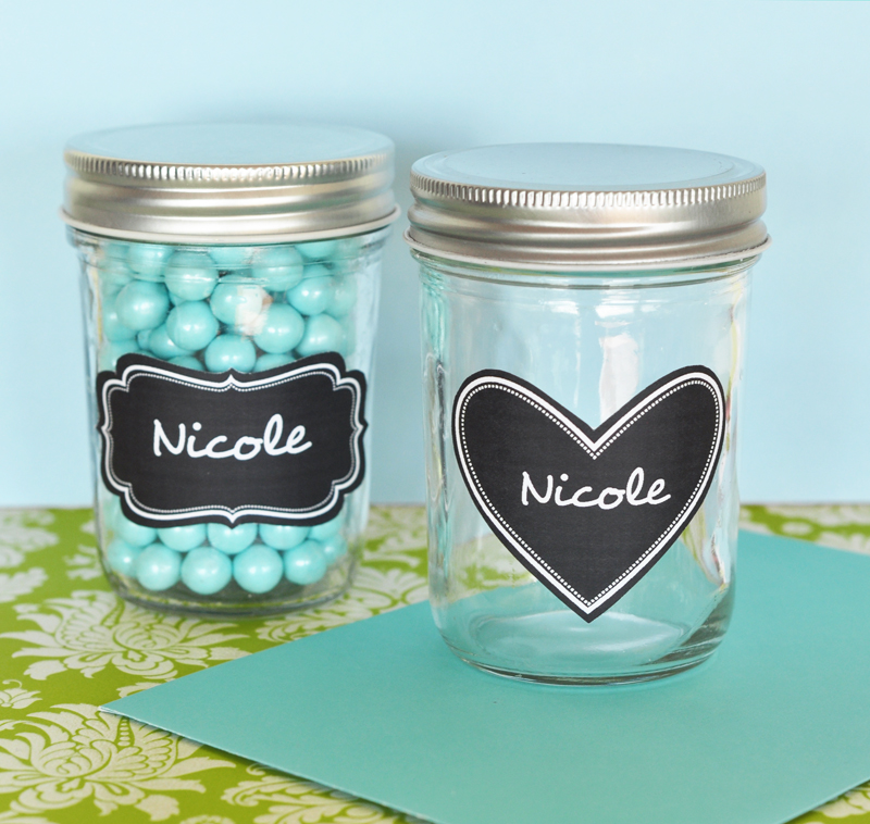 Mini Mason Jars with Vinyl Chalkboard Labels  wedding favors