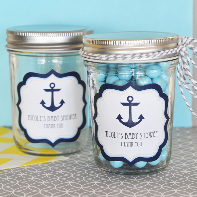 Nautical Baby Shower Personalized Mini Mason Jars cheap favors