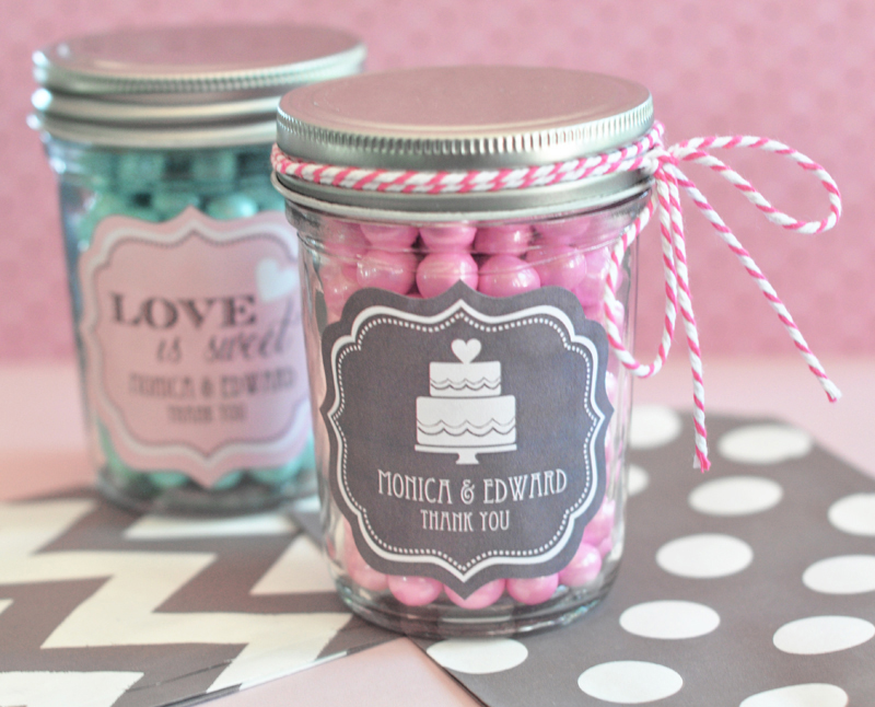 Personalized Wedding Mini Mason Jars  cheap favors