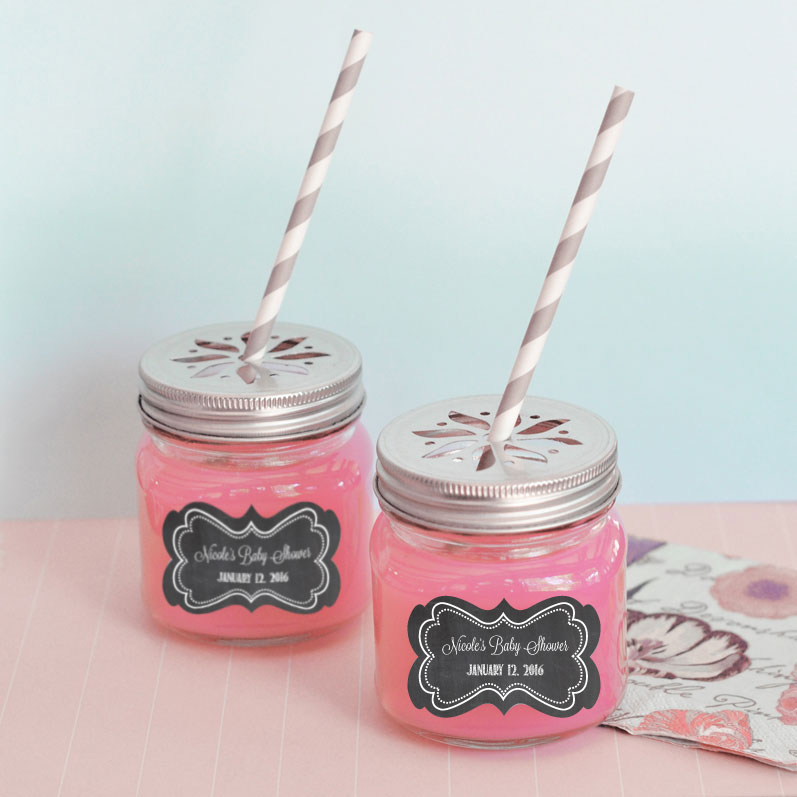 Chalkboard Baby Shower Personalized Mason Jar Drinking Glasses with Flower Cut Lids  cheap favors