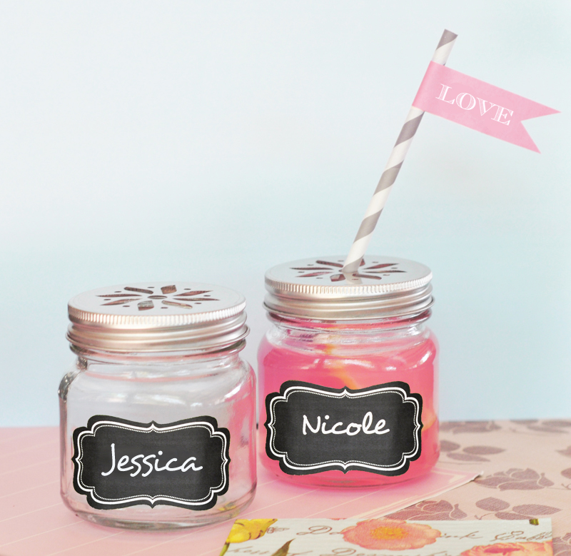 Mason Drinking Jars with Vinyl Chalkboard Labels  wedding favors