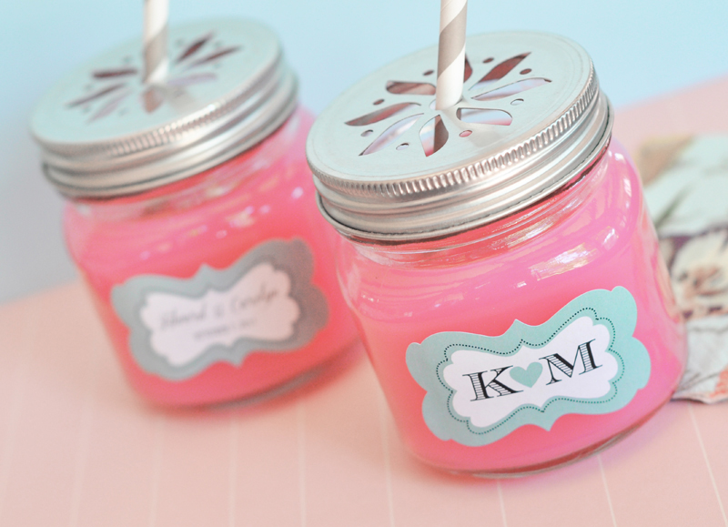 Personalized Mason Drinking Jars with Flower Lids cheap favors