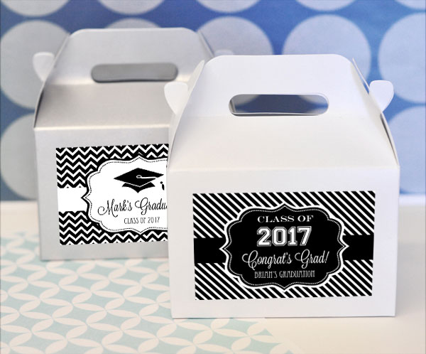 Personalized Graduation Mini Gable Boxes (set of 12) wedding favors