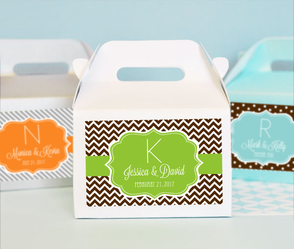 Personalized MOD Pattern Monogram Mini Gable Boxes (set of 12) cheap favors