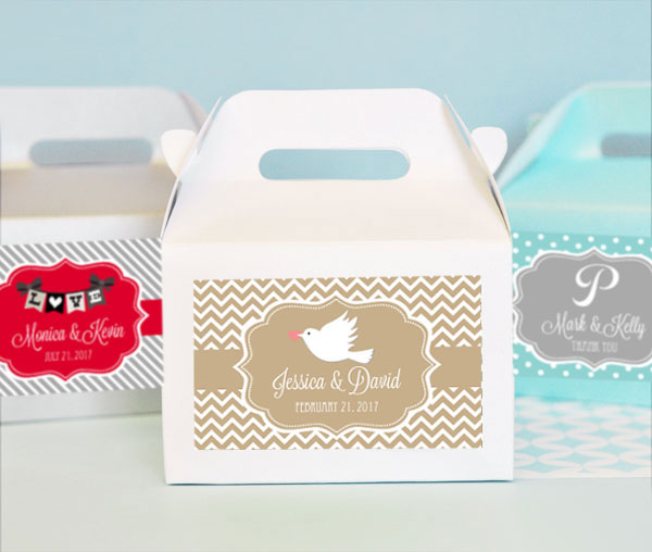 Personalized Theme Mini Gable Boxes (set of 12) cheap favors