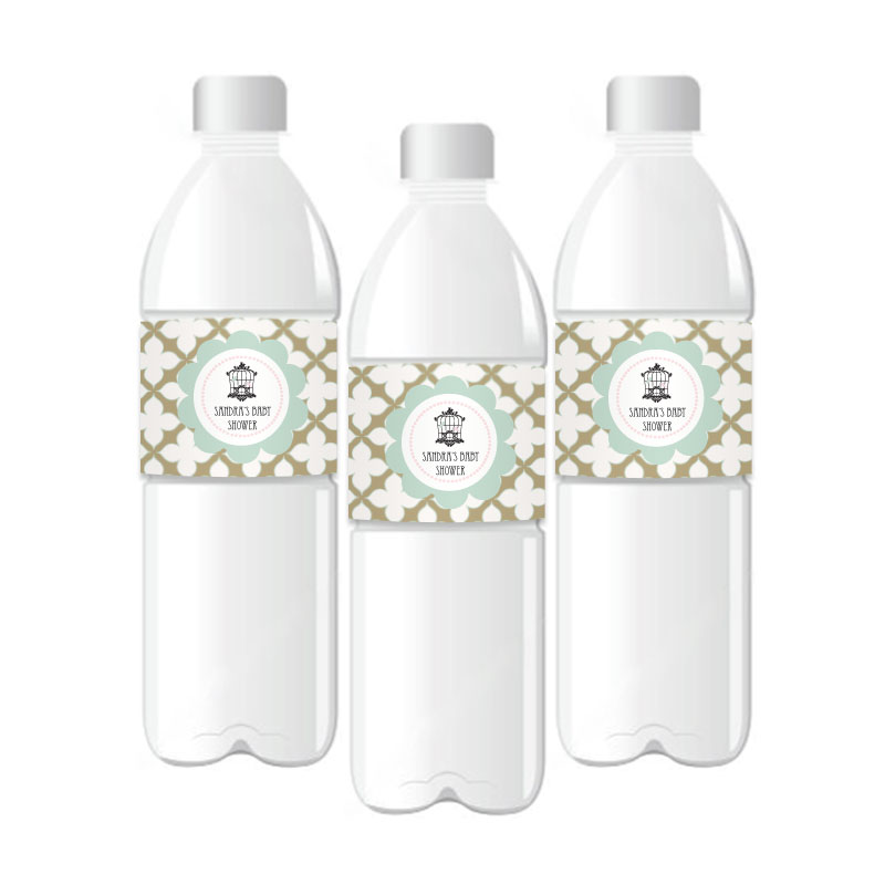 Birdcage Party Personalized Water Bottle Labels wedding favors