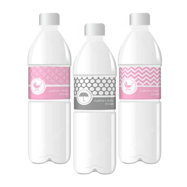 MOD Pattern Baby Water Bottle Labels  wedding favors