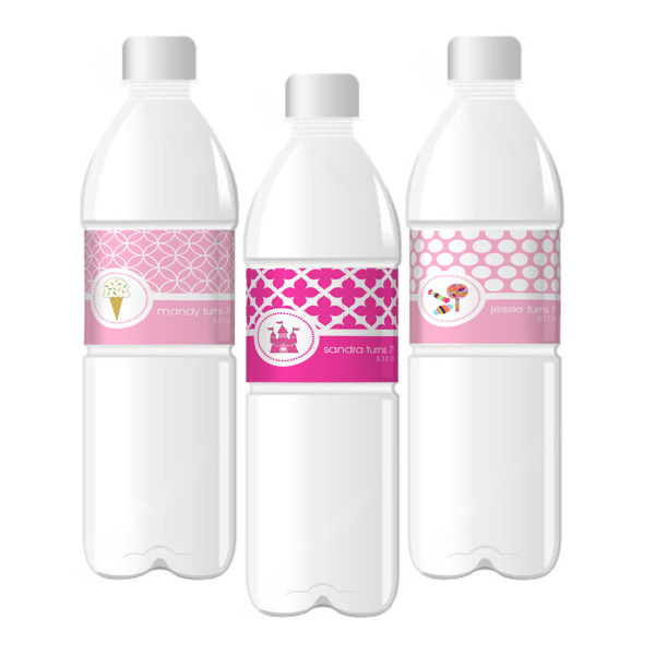 Personalized MOD Kid's Birthday Water Bottle Labels wedding favors