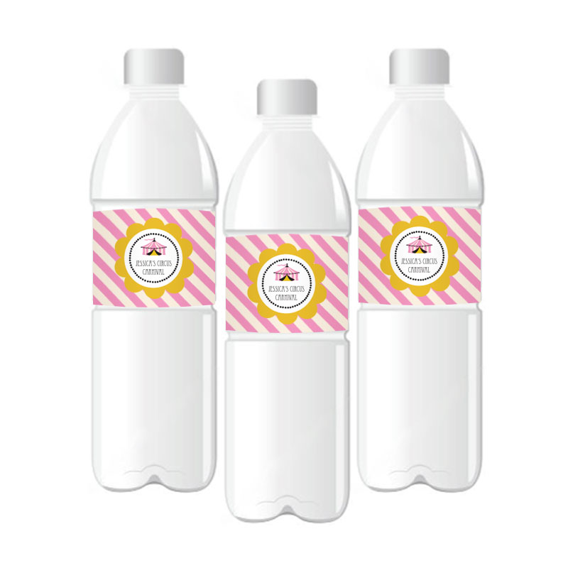 Pink Circus Party Personalized Water Bottle Labels wedding favors