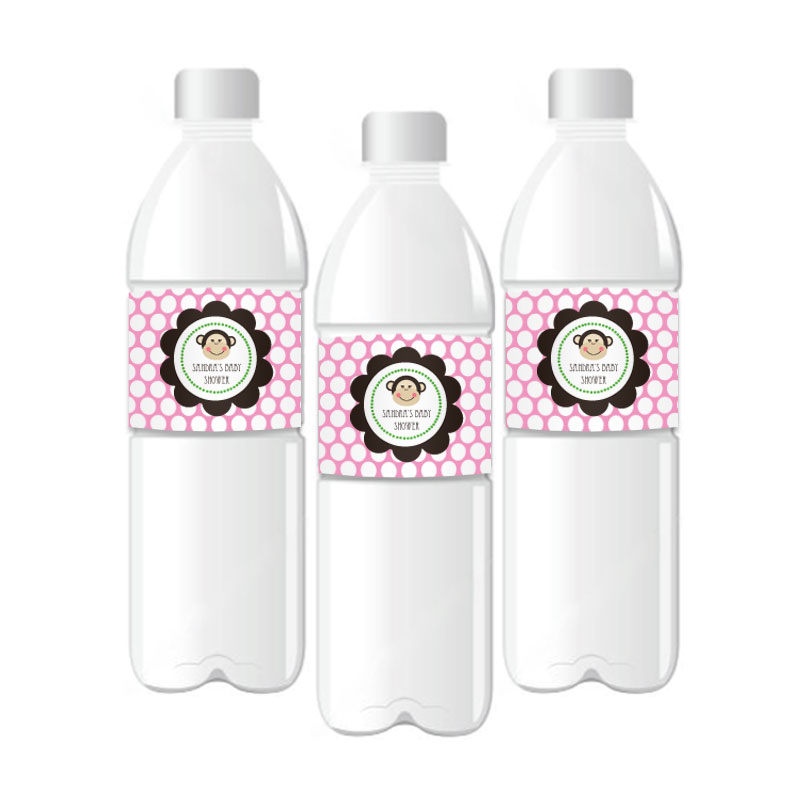 Pink Monkey Party Personalized Water Bottle Labels wedding favors
